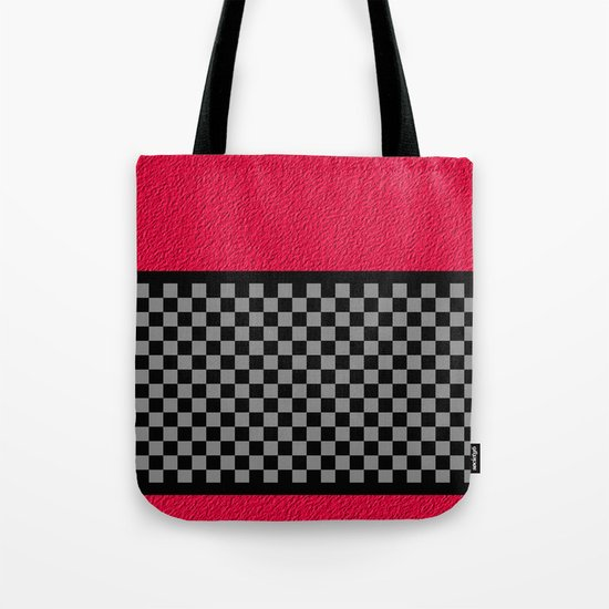 Checkered/Textured Red Tote Bag