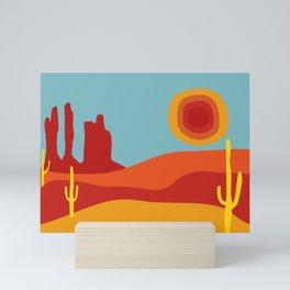 Funky Retro Desert in 70s Colors Mini Art Print