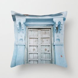 Blue Door in the Blue City Jodhpur in Rajasthan, India | Travel Photography | Throw Pillow