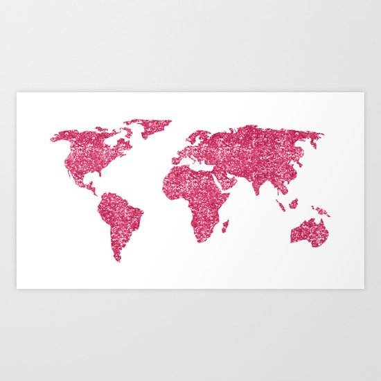 World Map Hot Pink Glitter Sparkles Art Print