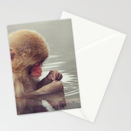 Cute-icle cleaning. Young Snow Monkey Japan Stationery Cards