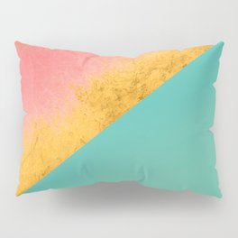 Aqua Coral Gold Pillow Sham