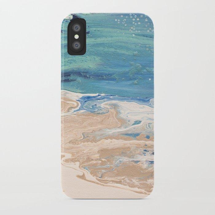 Роспись чехла для телефона акрилом: пляж и море