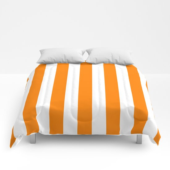 Vertical Stripes (Orange/White) Comforters