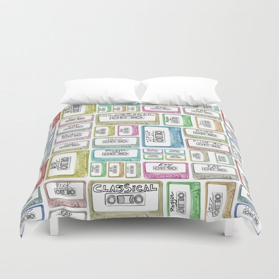 Tape Mix 2 Vintage Cassette Music Collection Duvet Cover