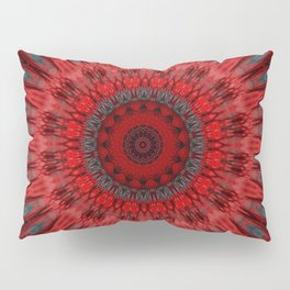 Bright RED Decorative Mandala Pillow Sham