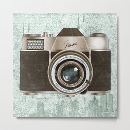 Green Vintage Camera Art Metal Print
