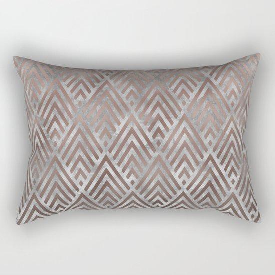 Rosegold foil triangles on grey grunge background Rectangular Pillow