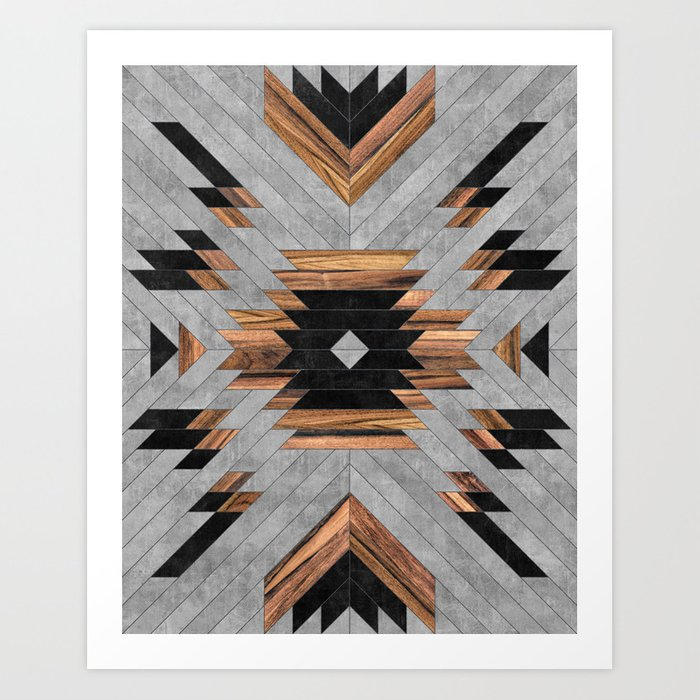 Urban Tribal Pattern No.6 - Aztec - Concrete and Wood Kunstdrucke