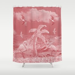 Pink Flamingos Palm Tree Shower Curtain