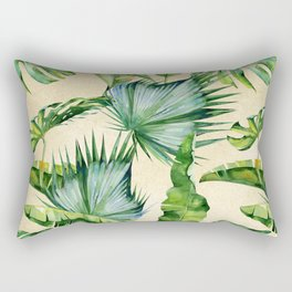 Green Tropics Leaves on Linen Rectangular Pillow