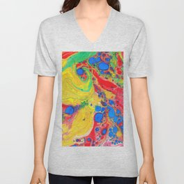 Marbling, Tie Dye Effect Abstract Pattern Unisex V-Neck