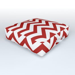 Simple Chevron Pattern - Red & White - Mix & Match with Simplicity of life Outdoor Floor Cushion