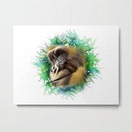 A Gorilla Watercolor Portrait Metal Print