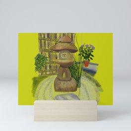 Japanese Tea House Garden Ceremony Golden Background Mini Art Print