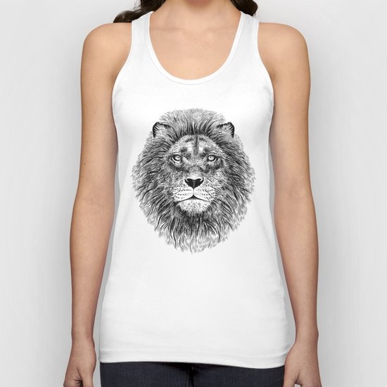 Black+White Lion Unisex Tank Top