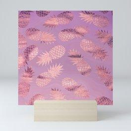 Pretty Pink & Rose Gold Pineapple Pattern Mini Art Print