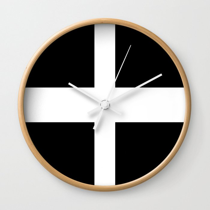 Saint Piran S Flag Of Cornwall Uk Wall Clock