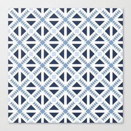 Geo Stamp Blue Canvas Print