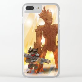 A RACOON AND A TREE Clear iPhone Case