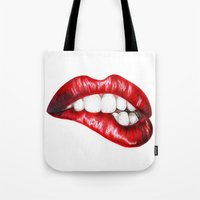 lip Tote Bags featuring Lip Bite by Brianna Bizik