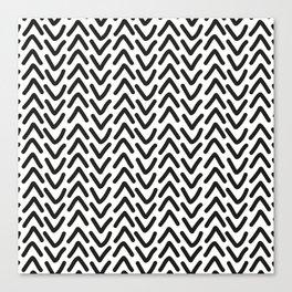 chevron black on white Canvas Print