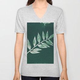 Minimal Ruscus green botanical fine art plant print / vintage cyanotype Unisex V-Neck