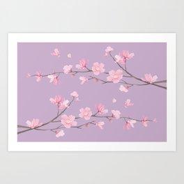 Cherry Blossom - Pale Purple Art Print