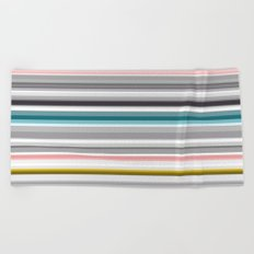 grey and colored stripes Beach Towel