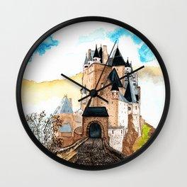 Berg Eltz Castle watercolor painting Wall Clock
