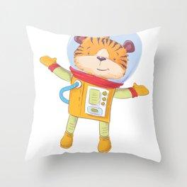 Space Tiger Astronaut Throw Pillow