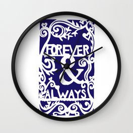Forever & Always - Navy Wall Clock
