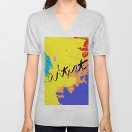 Artist paint cloth, painting with digital modification Unisex V-Neck