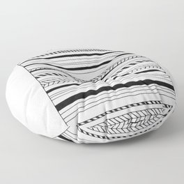 Abstract Black Lines Pattern Floor Pillow