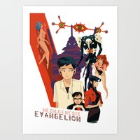evangelion Art Prints featuring Evangelion by Collectif PinUp!