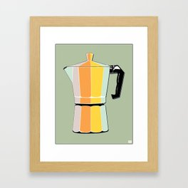 Retro Coffee Pot - Vintage Spring Colors on Silver Bubbles Background Framed Art Print