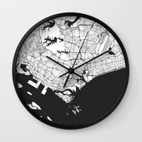 singapore Wall Clocks featuring Singapore Map Gray by City Art Posters