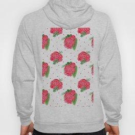 Modern red green watercolor roses floral polka dots Hoody