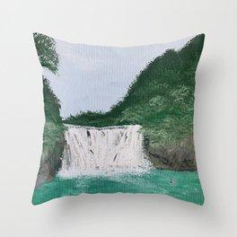 Jungle Waterfall Throw Pillow