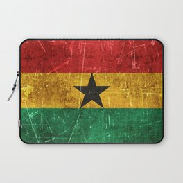 Vintage Aged and Scratched Ghana Flag Laptop Sleeve