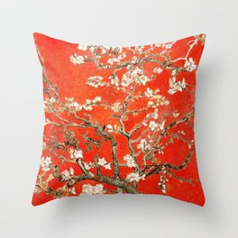 Red Almond Blossoms - Van Gogh (new color edit) Throw Pillow
