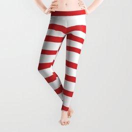 Red hand drawn stripes Leggings