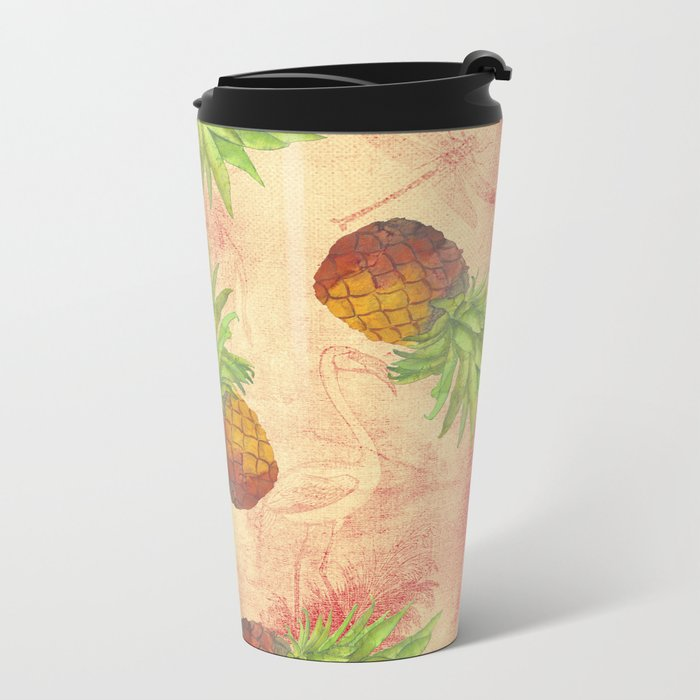 Retro Vintage Pineapple with Grunge Animals Background on #Society6 Metal Travel Mug