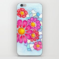 Raspberry Daisies and Icy Blue Crystals iPhone Skin