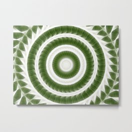 Green White Kaleidoscope Art 8 Metal Print