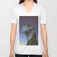 t rex V-neck T-shirts featuring T-REX by Cameron Gordon