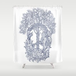 The Phoenix Bird and the Tree of Life Shower Curtain