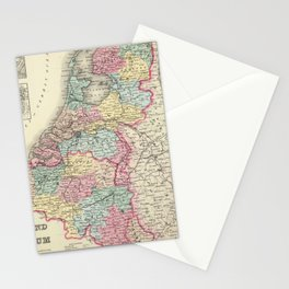 Vintage Map of Holland and Belgium (1856) Stationery Cards