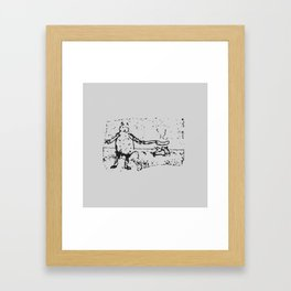 Jessie Frying up a Pan Full of Sausages on the Range - Monochrome Framed Art Print