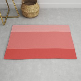 Coral Red Tricolor Bars Rug